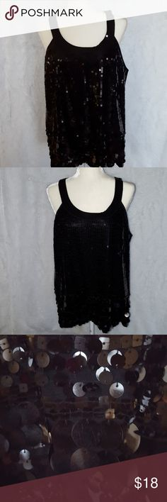 Black Sequins Top Sequins on front only the back is plain. Apt.9 Tops Blouses