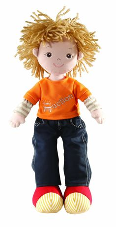 Amazon com aurora 14 inch rag doll tommy with orange t shirt and navy