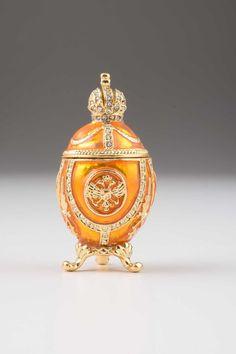 Yellow Faberge Egg Handmade Trinket Box Decorated by KerenKopal