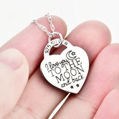 *** Buy 2 Get 1 Free *** *** FREE SHIPPING *** Get this I Love You to The Moon and Back Heart Necklace! Material:925 Sterling Silver Color: Silver Pedant Size: