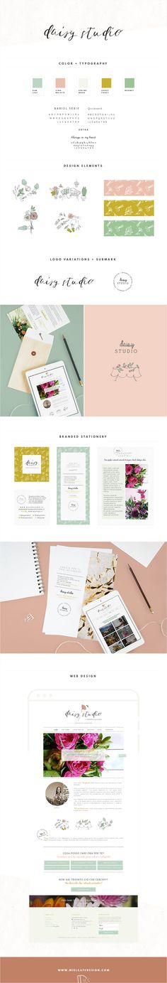 Full brand identity and web design for creative florist Margherita and her business Daisy Studio with custom illustrations, calligraphy and stationery.