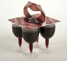 "This tulip glasses can be sold separately or by a pack of four glasses. This glasses are made for people who want to drink a glass of wine for a picnic for example instead of opening a entire bottle. Furthermore, this glasses are shatter proof, made of recycled plastic and very easy to consume (concept of ""peel, drink, recycle"")."