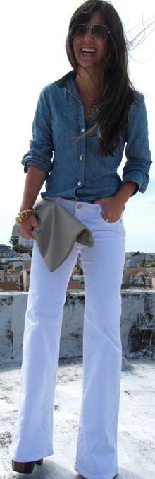 demin + white bootcut jeans