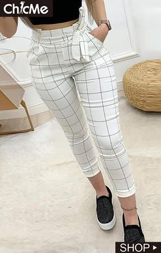 Women Plaid High Waist Skinny Pencil Drawstring Ankle-length Pants - School Clothes - Want - Fashions Mode Outfits, Trendy Outfits, Fall Outfits, Summer Outfits, 30 Outfits, Stylish Outfits, Trend Fashion, Fashion Pants, Fashion Dresses