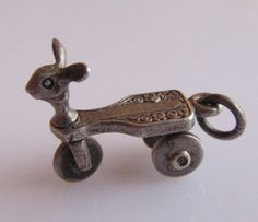 Silver Moving Childs Tricycle Charm by TrueVintageCharms on Etsy