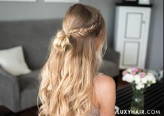 This hairstyle is perfect for our free-spirited girls who prefer a more effortless look for formal events.We love this looked paired with a flowy dress in a light color and natural sun-kissed makeup. Prom Hairstyles For Long Hair, Simple Wedding Hairstyles, Diy Hairstyles, Elegant Hairstyles, Summer Hairstyles, Simple Homecoming Hairstyles, Hair For Prom, Bridesmaid Hairstyles, Beautiful Hairstyles