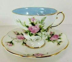EB Foley 1850 Tea Cup and Saucer. Pink Rose's with Blue Interior. Cup And Saucer Set, Tea Cup Saucer, Vintage Tea Parties, China Tea Cups, My Cup Of Tea, Tea Service, Tea Roses, Teapots, Drinking Tea
