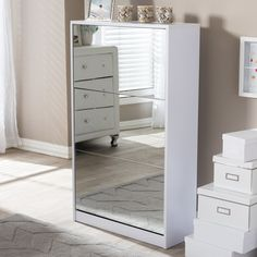 Wholesale Interiors Albany Wood Shoe Storage Cabinet with Mirror & Reviews…