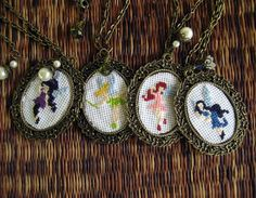 Cross-Stitch Fairy Necklaces made by @Anne Jacobsen