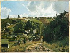 Jalais Hill, Pontoise  Camille Pissarro  (French, Charlotte Amalie, Saint Thomas 1830–1903 Paris)    Date:      1867  Medium:      Oil on canvas  Dimensions:      34 1/4 x 45 1/4 in. (87 x 114.9 cm)  Classification:      Paintings  Credit Line:      Bequest of William Church Osborn, 1951  Accession Number:      51.30.2    This artwork is currently on display in Gallery 820