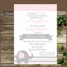Baby Shower Printable Invitation Pink and Grey by IsiDesigns
