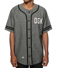 Snag a clean new style with a DGK text embroidered on a black chambray button up design with black knit stripe detailing on the placket and sleeves. Dgk Clothing, Baseball Sunglasses, Hollister Clothes, Jersey Outfit, Baseball Jerseys, Softball, Cool Hats, Black Knit, Chambray