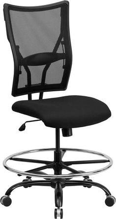 Flash Furniture WL-5029SYG-D-GG HERCULES Series 400 lb. Capacity Big & Tall Black Mesh Drafting Stool