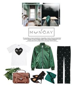 """""""Untitled #2303"""" by kelly-m-o ❤ liked on Polyvore featuring Play Comme des Garçons, Proenza Schouler, Miu Miu, Acne Studios, Garance Doré, GREEN, pants, winter2015 and pantonecolor"""