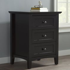 black sonoma tall 2 drawer nightstand with open shelf continue