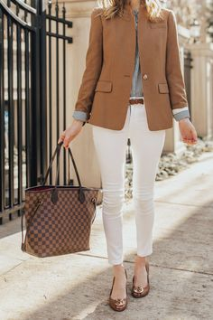 One of my favorite outfit pieces is a classic camel blazer. It's preppy but still different enough that you can showcase your individual style.