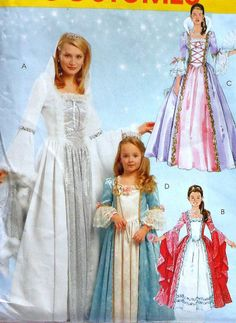 Child Size Princess Gown Sewing Pattern...I think I could adapt these styles for Barbie