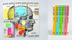 """The idea of creating a tableau of all six books in this series came from wanting to mirror visually the conceptual idea of discovery. The use of color atop the clinical black-and-white imagery represents the vibrancy that Sacks discovers within his patients, the life that he finds where nothing was meant to exist."""