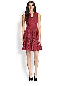 Burberry London - Flared Notched-Neck Lace Dress