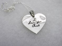Handwriting Jewelry HEART in Sterling Silver In Memory Of Dad, Handcrafted Jewelry, Unique Jewelry, Presents For Mom, Small Heart, Heart Jewelry, Sterling Silver Chains, Handwriting, Pendant