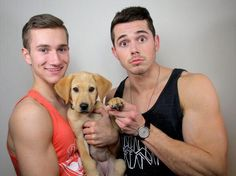 Ethan Hethcote & Mark Miller, dating couple and openly gay American YouTubers, with their puppy.
