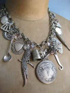 Victorian Trinkets - An Antique Charm Necklace by Urban Rose