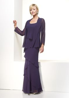 Affordable Chiffon Evening Gown with Long Sleeve Jacket 29292
