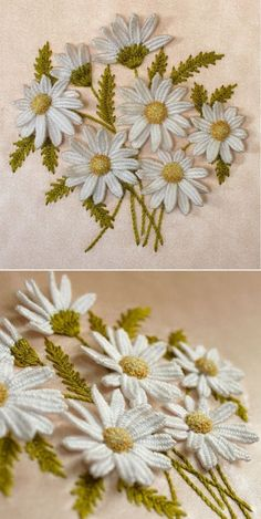 --margarides, en 3 D-- -Dimensional Daisies - 3 Lessons taught by Annamaria Kover of Humming Needles at… Sewing 101 – Guide for beginners, like me… – The D. Dreamer A – Dimensional Daisies – 3 Lessons by Annamaria Kover I LOVE this stumpwork A Silk Ribbon Embroidery, Crewel Embroidery, Hand Embroidery Patterns, Cross Stitch Embroidery, Machine Embroidery, Cross Stitches, Embroidery Thread, Crochet Stitches, Brazilian Embroidery