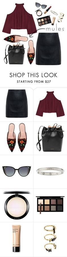 """""""M U L E S"""" by donut-care ❤ liked on Polyvore featuring McQ by Alexander McQueen, W118 by Walter Baker, Alberta Ferretti, Mansur Gavriel, Fendi, Cartier, Down to Earth, Noir Jewelry, Bobbi Brown Cosmetics and Spring"""