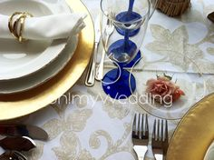 Tablescape gold and blue wedding