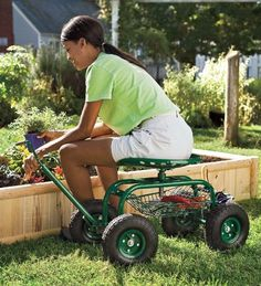 Budget-wise Garden Seats on wheels for arthritis sufferers, gardeners with disabilities and the elderly.