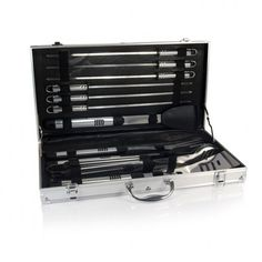 The Mirage Pro is an 11-piece stainless steel barbecue tool set that features all the tools a serious grill master could ask for. Each utensil in this compact set was designed with the grill master in mind. The attractive and durable aluminum-accented carrying case holds high-quality stainless ste