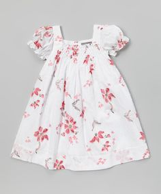 White & Pink Floral Shirred Dress Pink Rose Tiered Dress from Les Petits Soleils by Fantaisie Kids
