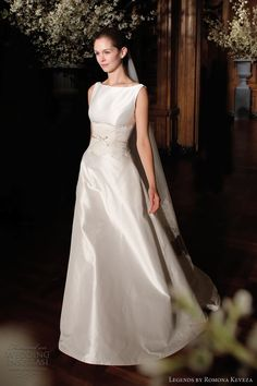 legends by romona keveza bridal spring 2014 sleeveless boat neck silk shantung taffeta