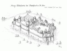Castle Roedelheim near Frankfurt am Main/ Hessen www. Medieval World, Medieval Town, Medieval Castle, Medieval Fantasy, Fantasy Castle, Fantasy Map, Castle Illustration, Medieval Drawings, Castle Drawing