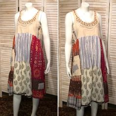 DeviDesigns Upcycled Linen n Indian Cotton Dress w by DeviDesigns