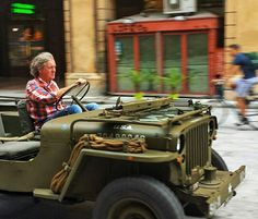 "thehammersmithsilverfox: "" Spaniel at speed - driving what looks like a 1944 Willys MB Jeep. """