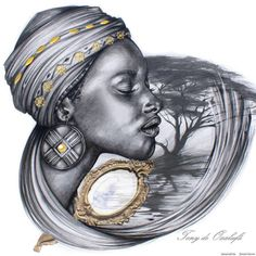 White Art, Black Art, Sleeve Tattoos, Sexy Tattoos, Tattos, Drawing Sketches, Art Drawings, African Drawings, Black Love