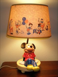 Vintage 1970s 80s mickey mouse lamp and shade mickey mouse lamp mickey mouse lamp with original shade aloadofball Choice Image
