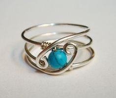 December Birthstone Turquoise Gemstone Ring Turquoise Jewelry Sterling Silver Rings for Women - Décembre Birthstone Pierre Turquoise bague par SpiralsandSpice - Wire Jewelry Rings, Wire Jewelry Making, Wire Jewelry Designs, Handmade Wire Jewelry, Wire Wrapped Jewelry, Sterling Silver Jewelry, Beaded Jewelry, Jewelery, Silver Rings