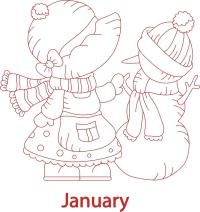 Diddybag Set 13520 - SE Sunbonnet Sue Months of the Year