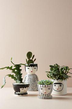 100 Beautiful DIY Pots And Container Gardening Ideas Face Planters, Planter Pots, Succulent Pots, Succulents Diy, Indoor Succulents, Succulent Containers, Container Flowers, Flower Planters, Cactus Flower