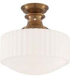 Thomas O'Brien for Visual Comfort - Milton Semi-Flush Mount, Antiqued Brass Outdoor Ceiling Lights, Ceiling Lighting, Visual Comfort Lighting, Milk Glass Lamp, Convertible, Thomas O'brien, All Of The Lights, Flush Mount Ceiling, Glass Material