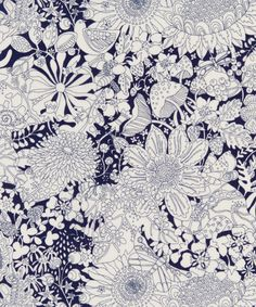 Fairy Land C Tana Lawn Cotton   Liberty Art Fabrics   In this print, flora and fauna coexist under the flowerbeds in a monotone world that captures the charm of the English countryside in spring and summer