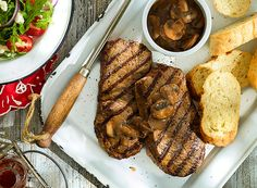 Grilled Steaks with Mushroom Piquant and Watermelon Feta Salad from Publix Aprons