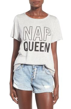 Keeping cozy in this soft heathered tee that bestows upon you the illustrious title of Nap Queen.