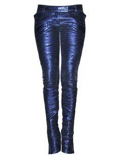 #Leather Pants Metallic Blue  top women #2dayslook #new #topfashion  www.2dayslook.com