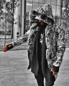 Men's Quilted Winter Coats   Hooded Faux Fur Lined Parka   Jacket   Puffer Coat  Parka  