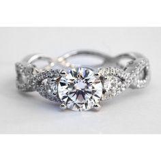 PLATINUM Diamond Engagement Ring - 1.00 carat Round - Pave - Antique... by None, via Polyvore