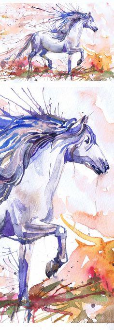 Equestrian Decor Horse Watercolor, Equine Art, Horse Print, Running horse Farm art, Horse Art , horse painting, horse wall art,Illustration Running horse